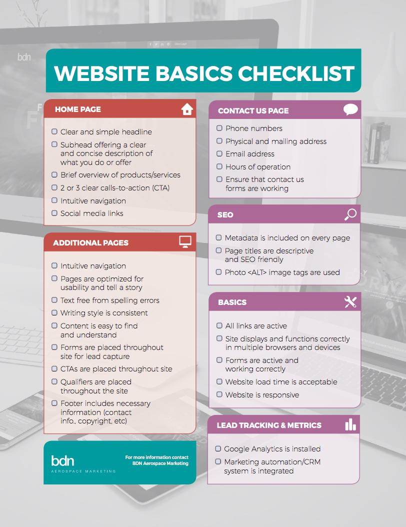 Infographic, Website Basics Checklist