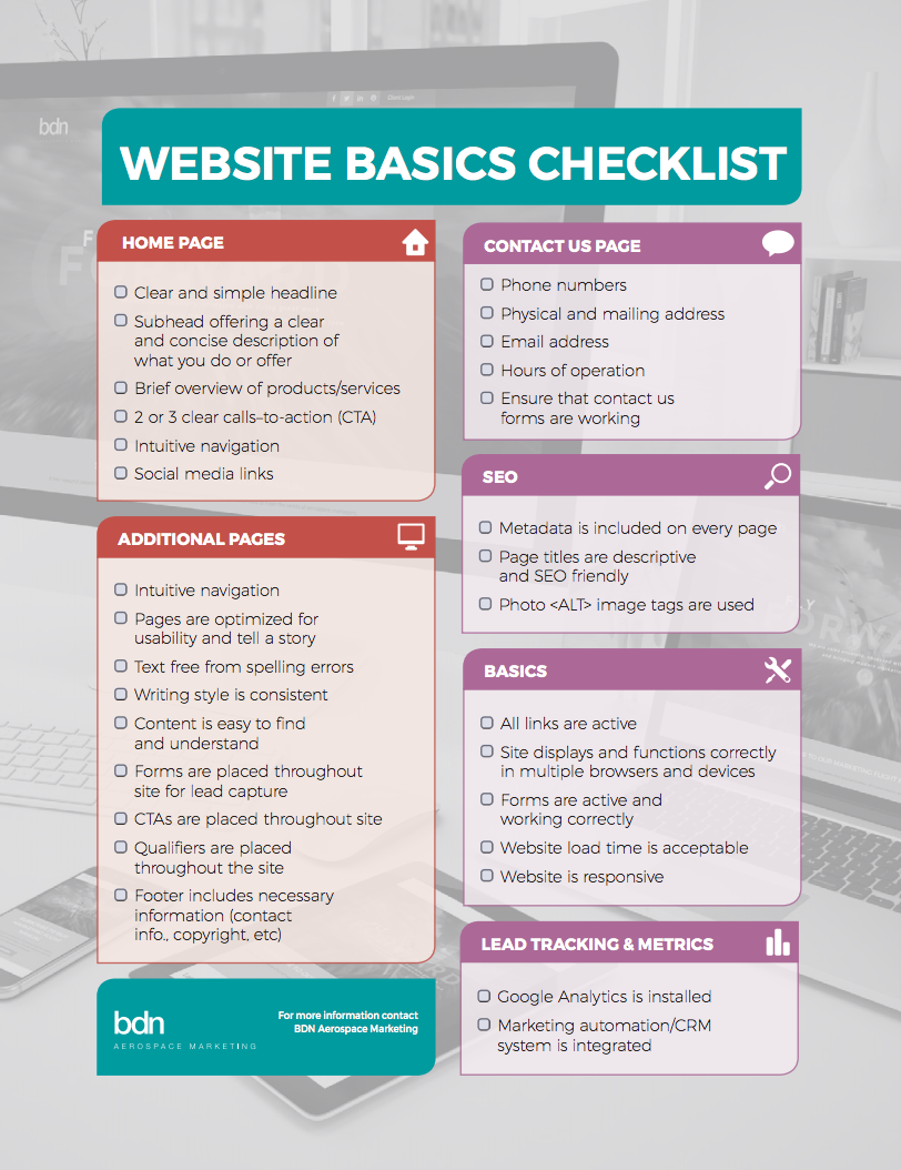 Infographic, Website Basics Checklist